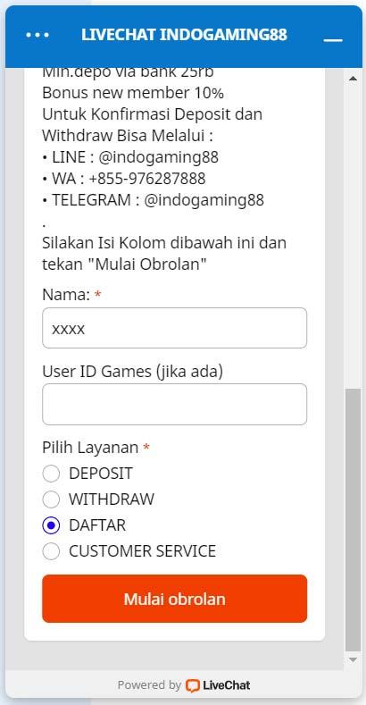 CS Indogaming via Livechat